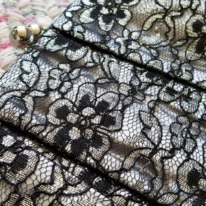 Oversized Silver and Black Lace Clutch Handbag